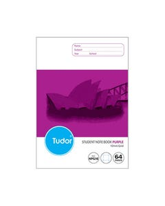 OLYMPIC NPG16 EXERCISE BOOK NSW RULING GRID 10MM 55GSM 64 PAGE 250 X 176MM PURPLE PACK 20
