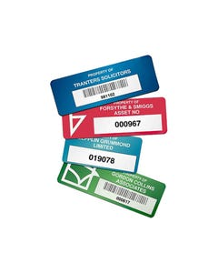 BRADY CUSTOM DURAGUARD ASSET TAGS 38 X 19MM WITH BARCODE PACK 10