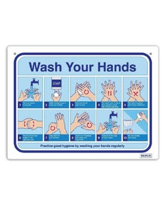 Social Distance Wall Sign - 'How to Wash Hands'