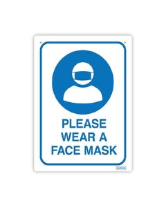Social Distance Wall Sign - 'Please Wear a Face Mask'
