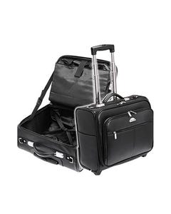 WATERVILLE PILOT CASE/COMPUTER BAG VINYL WITH TROLLEY WHEELS AND RETRACTABLE HANDLE BLACK