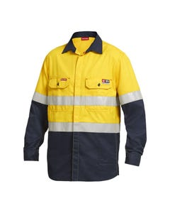 Hard Yakka Shieldtec FR Hi-Vis Two Tone Open Front Long Sleeve Shirt with FR Tape Y04350