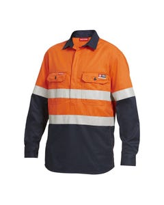 Hard Yakka Shieldtec Hi-Vis Two Tone Closed Front Long Sleeve Shirt with Tape Y04550