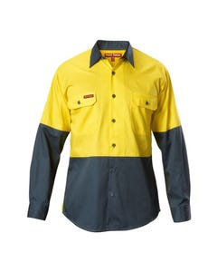 Hard Yakka Koolgear Hi-Vis Two Tone Cotton Twill Long Sleeve Shirt Y07558