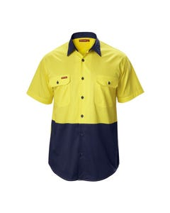Hard Yakka Koolgear Hi-Vis Two Tone Cotton Twill Ventilated Short Sleeve Shirt Y07559