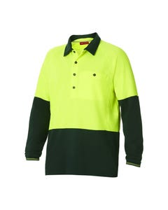 Hard Yakka Koolgear Hi-Vis Two Tone Long Sleeve Ventilated Polo Y11389
