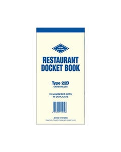 ZIONS 22D RESTAURANT DOCKET BOOK CARBONLESS DUPLICATE 200 X 95MM 25 SETS