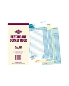 ZIONS 22T RESTAURANT DOCKET BOOK CARBONLESS TRIPLICATE 200 X 100MM 25 SETS