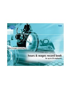 ZIONS HOURS AND WAGES RECORD BOOK MEDIUM UP TO 20 EMPLOYEES 215 X 285MM