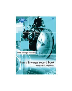 ZIONS HOURS AND WAGES RECORD BOOK POCKET UP TO 17 EMPLOYEES 210 X 135MM