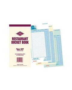 ZIONS CBT RESTAURANT DOCKET BOOK CARBONLESS TRIPLICATE 170 X 100MM 25 SETS