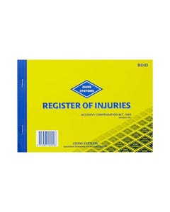ZIONS REGISTER OF INJURIES BOOK VIC