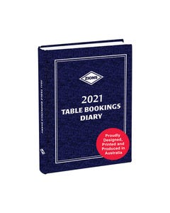 ZIONS 2021 TABLE BOOKINGS DIARY 2-PAGE PER DAY 305 X 215MM BLUE